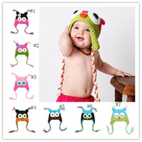 Wholesale Crochet Owl Hat Toddler - Winter Baby owl Knitted Hat Infant cartoon Caps toddler Outdoor warmth hats fit 0-1T C2798