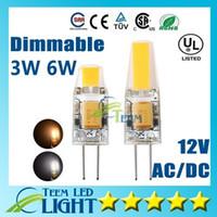12 bombillas g4 al por mayor-Alta calidad G4 LED Regulable CA DC 12 V COB Luz 3W 6W LED G4 COB Bombilla Lámpara Lámpara de bombilla LED garantía de 3 años 100