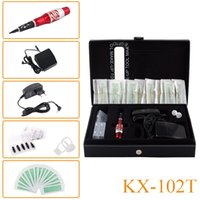 Wholesale Needles Tattoo Dragon - New KX-102T Top Professional Permanent Makeup Machine Tattoo Kit Red Dragon Machine Pen Needles Tips Power Supply Free Shipping