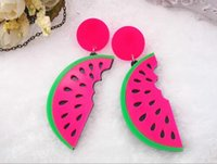 Drop Earrings Pas Cher-Cute Watermelon Dangle Earrings Punk Style Candy Acrylic Fruit Long Dangle Boucles d'oreilles pour Femmes Femmes Hiphop Bar Jewelry