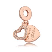 2017 Novos encantos encantadores da Mãe Amada 925 Sterling Silver Heart Charm Bead Fit Original Pandora Charm Bracelet For Jewelry Making DIY