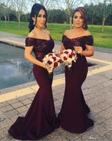 Wholesale Elastic Sparkle Dress - 2017 New Elegant Off The Shoulder Satin Floor Length Bridesmaid Dresses Sparkling Sequins Top Ruffle Mermaid Formal Prom Evening Dresses