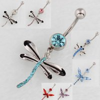 Wholesale Brand Belly Rings - Brand New Fashion Belly Button Rings Stainless Steel Dangle 8 Color Rhinestone Dragonfly Navel Body Piercing Jewelry