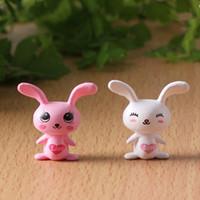 Wholesale Love Figurine - New white pink mini love cony rabbit fairy garden miniatures mini gnomes moss terrariums resin crafts figurines for garden decoration