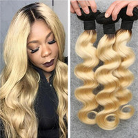 Wholesale cheap two tone blonde hair - 613 ombre hair extensions 9A cheap two tone color 1b 613 blonde dark root ombre body wave human hair weaves 3pcs lot stock