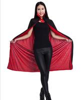 Wholesale Kids Vampire Capes - 140cm Halloween women witch cape cloak kids black god of death cloaks cosplay devil cape Cloak Witch Wizard Cloak Death Gown Robe