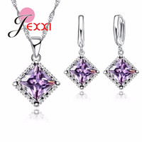JEXXI Ensemble de bijoux en argent sterling de qualité supérieure 925 Classic Classic Clear Cubic Zirconia Necklace Earrings Set for Women Wedding