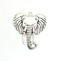 Wholesale antique elephant necklace - 4pcs Antique Silver Plated Elephant Charms Pendants for Bracelet Jewelry Making DIY Necklace Craft 55x48mm