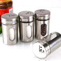 Wholesale universal Different Needs Rotating Holes Spice Jars Condiment Pot Salt Pepper Kitchen Storage Stainless Steel Glass Container