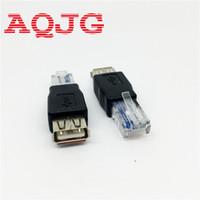 Wholesale Ethernet Connector Adapter Usb - Wholesale- PC Crystal Head RJ45 Male to USB 2.0 AF A Female Adapter Connector Laptop LAN Network Cable Ethernet Converter Transverter Plug