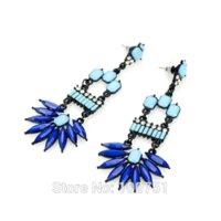 Wholesale Spiked Earrings - Pendientes Largos Hot New Fashion Blue Punk Spike Earrings Wholesale Brincos for Women gemstone sagittarius