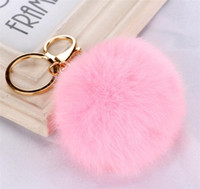 Wholesale Wholesale Pearl Keychain - 100pcs 20 colors lovely 8CM Genuine Leather Rabbit fur ball plush key chain for car key ring Bag Pendant car keychain