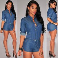 Wholesale Womens Short Romper Jumpsuit - Sexy Womens Bodycon Denim Short Pants Jumpsuit Playsuit Romper Jeans Overall