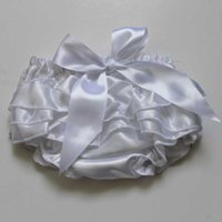 Wholesale Baby Ruffle Bloomers Satin - Summer Style White Baby Bloomer Girls Boys Panties Infant Toddle Satin Ruffle Bloomer Princess Newborn Diaper Cover Wholesale