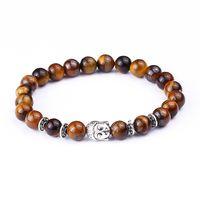 Wholesale Tiger Charm Chain Gold - Wholesale-Tiger Eye Beads Bracelets Shakyamuni Buddha Bangles bijoux pulseras Rope Chain Natural Stone Volcanic Bracelet Women Men Jewelry