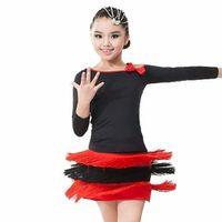 Wholesale Cheap Silk Clothing - Cheap Latin Dance Dress For Girls 8 Colors Children Cha Cha Rumba Samba Tango Dance Skirt Roupa Infantil Female Ballroom Clothes DQ4007