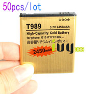 Wholesale Galaxy S2 I727 - 50pcs lot 2450mAh EB-L1D7IBA Gold Replacement Battery For Samsung Galaxy SII S2 Hercules T989 i515 i717 SHV-E120S E120L  S  K i727 i547 L700