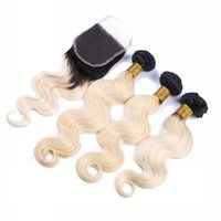 Wholesale two tone wavy weave for sale - 9A Virgin Malaysian Ombre Hair With Closure Bundles B Two Tone Hair Weaves With Closure Body Wave Wavy Blonde Hair With Closure