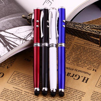 Wholesale Soft Tip Stylus - 1pcs 4 in 1 Soft rubber tip Accurate Laser Pointer LED Torch Touch Screen Stylus Ball Pen for iPhone black   Brand New <US$10 no tracking