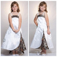 Wholesale Wedding Dresses For Sale Online - Spaghetti A-Line Camo Flower Girls Dresses Ankle Length Custom Online Formal Kids Wear For Wedding Party Cheap Sale Camouflage Outside Fit