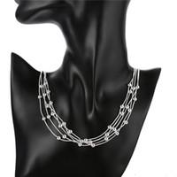 ingrosso vendita diretta illuminazione-Collana in argento sterling STSN213, collana in argento 925 con catene a forma di collana di perline con perline luminose, collana in argento 925