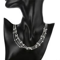 gümüş hat kolye toptan satış-Noel hediyesi Beş satır ışık boncuk kolye gümüş plaka kolye STSN213, moda 925 gümüş Zincirler kolye fabrika doğrudan satış