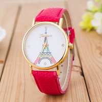 Wholesale Eiffel Watches - Geneva imitation leather watch Creative summary discus the Eiffel Tower in Paris girlfriends wrist watch Ladies fashion table