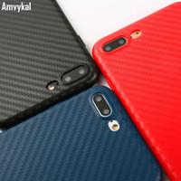 siyah yumuşak tıkaç toptan satış-Amvykal iphone x 6 6s 7 8 artı case kırmızı siyah mavi karbon fiber yumuşak tpu silikon kılıf kapak toz fiş