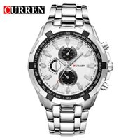 Wholesale Mens Curren Waterproof Watches - CURREN 8023 mens Watches Top Brand Luxury Men Military Wrist Watches Full Steel Men Sports Watch Waterproof Quartz watch Wholesale