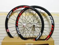 volle carbon straßenräder 38mm großhandel-Vollcarbon Rennrad Laufradsatz 38mm FFWD Drahtreifen Carbonräder Rennrad Räder 23mm Rot 700C