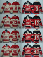 Wholesale Brand Hoodie Top - 2016 New Brand-Detroit Red Wings 9 howe 13 datsyuk 19 yzerman 40 zetterberg Red Beige Hoodies Jersey Top quality Hockey Jerseys