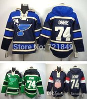 Wholesale Quick Shop - 2016 Low Price Shop Discount St. Louis Blues hoody #74 T.J. OSHIE Old Time Hockey hooded Jersey Sweatshirts navy blue green Size M--3