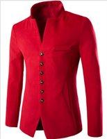 men s casual jacket designs groihandel-2017 Mode für einzigartige Tasche Design Herren Kragen Einreiher Wolle Anzug Freizeitjacke Herren Oberbekleidung Mäntel
