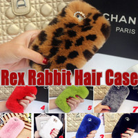 Wholesale Rex Cover - For iPhone X Rex Rabbit Hair Soft Touch Warm Fur Case Bling Diamond Plush Furry Girl Lady Cover For iPhone 8 7 Plus 6 6S Samsung S8 S7 Edge