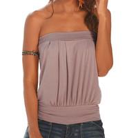 tops de tubo plissado venda por atacado-Atacado-HOT 2017 Summer Beach T Shirt Mulheres Off Ombro T-shirt Plain Strapless Boob Tube Tops Plissado T-shirt feminino Tees Plus Size