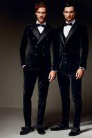 Wholesale Cool Groom Vests - 2016New Men's Wear Peaked Lapel Groom Tuxedos Two Button Two Pocket Slim Fit Three-Piece Suit Cool Wedding Suit (Jacket+Pants+Vest)