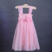Wholesale Korean Children Wedding Clothes - 2016 Korean children summer clothing girl slip tee dress kids flower princess party dress baby girl prom wedding dress