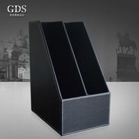 Wholesale File Tray Holder - Wholesale-Gardensun 2-slot wood leather desk file document holder tray box cubbyhole pigeonhole organizer rack black