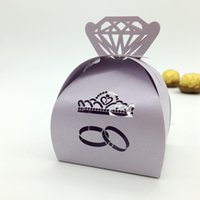 Wholesale Wholesale Light Yellow Diamond Rings - 200pcs Laser Cut Hollow Diamonds Crown Ring Candy Box Chocolates Boxes For Wedding Party Baby Shower Favor Gift