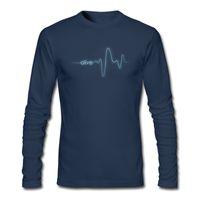 Wholesale Cool Design Art - Fantastic design boy's long-sleeve t-shirt simple cool art electrocardiogram printed tshirt street guys popular top wear Alive