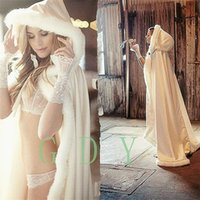 Wholesale Wool Lace Yarn - 2017 Winter Bridal Cape Faux Fur Christmas Cloaks Jackets Hooded For Winter Wedding Bridal Wraps For Wedding Dresses Sweep Train~F1