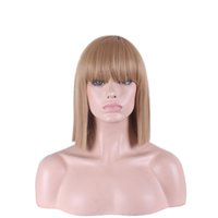 Wholesale Synthetic White Hair Bangs - WoodFestival 35cm shoulder length hairstyle wig for women blue straight wigs with bangs synthetic fiber hair wigs rose comfort hair net