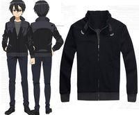 ingrosso cappotto online di arte spada-Personaggio dei cartoni animati COS Sword Art Online Kirito alta qualità Anime Cosplay Costume Cappotto con cappuccio nero Halloween