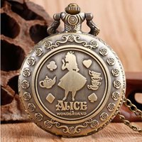 Wholesale pocket watches for - Alice in Wonderland Pocket Watch Ancient Bronze Fob Watch Necklace Fashion Jewelry for Women Kids Gift Drop Shipping