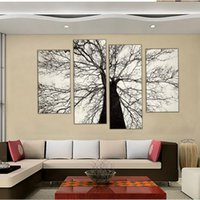 Wholesale Black White Tree Art - 4 Picture Combination Famous Modern Paintings Black and White Winter Tree Oil Painting Spray Pain Art Home Wall Decoration