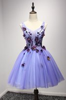 Wholesale Lavander Dresses - Real Photos 2017 Cheap In Stock Homecoming Short Prom Dresses Lavander Floral with Crystals Cocktail Party Gowns Sexy Sheer TOP