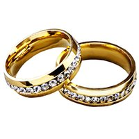 ingrosso zingara d'oro-L'anello di cerimonia nuziale di Fidanzamento delle donne classiche calde di modo incanta i lotti all'ingrosso dei monili degli anelli degli anelli dei Rhinestones di zirconi cubici Trasporto libero LR011