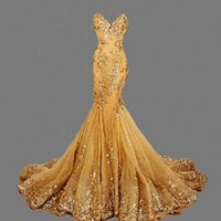 Wholesale Empire Column Sweetheart - Mermaid Long Evening Dresses Sweetheart Sexy gold Hunter Runway Fashion Club Wear Prom Dress Gowns With Train 2016 Z50