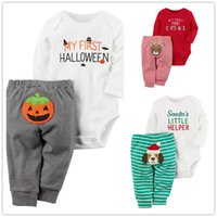Wholesale Dog Clothes Pants - 3 styles Baby Holloween Christmas Romper outfits 2pc set romper+pants cute pumpkin dog deer embroidery pants sets infants festivals clothing