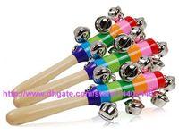 Wholesale Fedex Toys - DHL FEDEX Free shipping 400pcs Baby Rainbow Toy kid Pram Crib Handle Wooden Activity Bell Stick Shaker Rattle